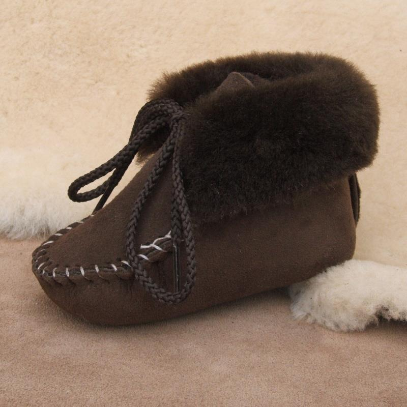 Brown Infant Sheepskin Booties
